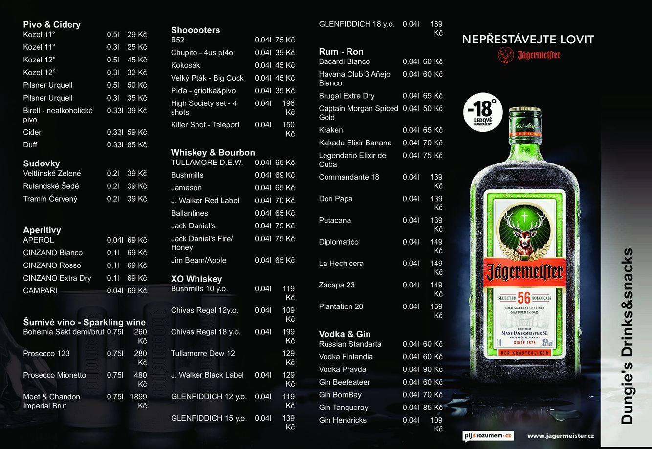 Kompletní nápojový lístek